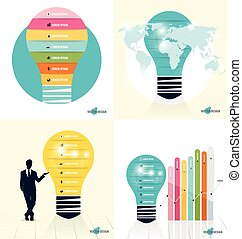 Infographic design template. Businessman showing Light bulb with colorful infographics paper template, vector illustration.