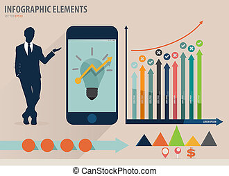 Infographic design template - businessman showing touchscreen device with colorful infographics paper template, vector illustration