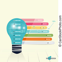 Infographic design template. Light bulb with infographics paper