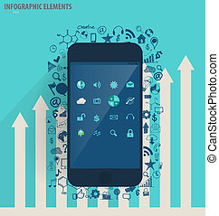 Infographic design template - modern touchscreen device with application icon, vector illustration