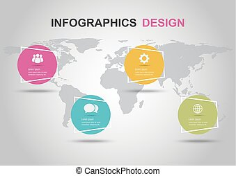 Infographic design template with circle banners