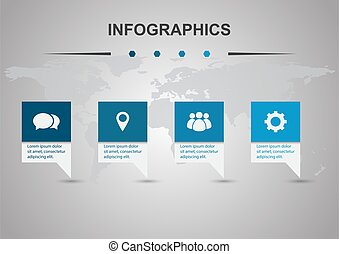 Infographic design template with four banners
