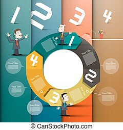 Infographic Design. Vector Infographics Graph with Paper Numbers, Businessmen in Suits  and Circle Arrows.
