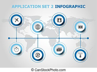 Infographic design with application icons. set 2