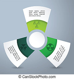 Infographic design with bio hazard labels and descriptions