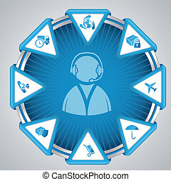 Infographic design with call center symbol - Support for...