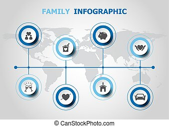 Infographic design with family icons