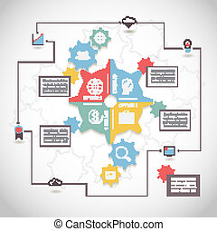 Infographic design with gear chain