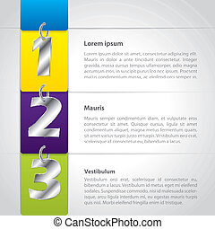 Infographic design with hanging metallic numbers