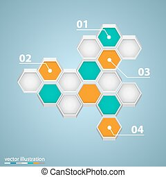 Infographic design with hexagons