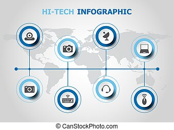 Infographic design with hi-tech icons