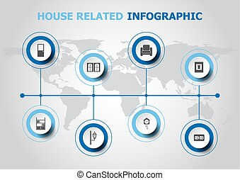 Infographic design with house related icons