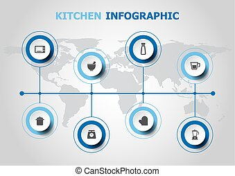 Infographic design with kitchen icons
