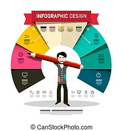 Infographic Design with Man Holding Big Pencil. Vector Infographics Template with Colorful Papers and Icons. Company Annual Report Concept.