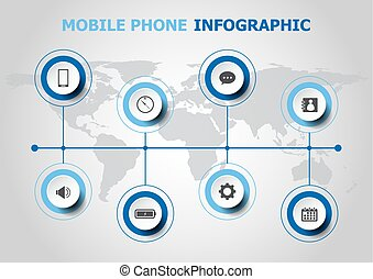 Infographic design with mobile phone icons