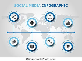 Infographic design with social media icons
