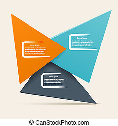 Infographic design with triangles of different colors. Vector il