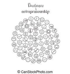 infographic, dessiné, concept, entrepreneurship, main