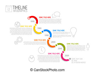 Infographic diagonal timeline report template - Vector...