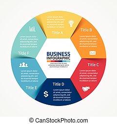 infographic, diagram, 6, opcje, kroki