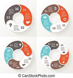 infographic, diagram, koło, opcje, handlowy