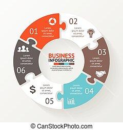 infographic., diagram, pojęcie, processes., handlowy, strony, abstrakcyjny, wykres, albo, chart., tło., wektor, kroki, szablon, 6, koło, prezentacja, zagadka, opcje