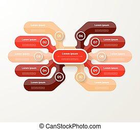 infographic, diagram, procesy, pojęcie, handlowy, 10, strony, opcje, wykres, chart., wektor, kroki, szablon, prezentacja, albo