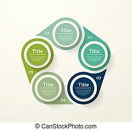 infographic, diagram, procesy, pojęcie, handlowy, strony, opcje, wykres, chart., wektor, 5, szablon, kroki, prezentacja, albo