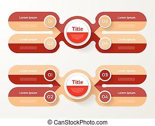 infographic, diagram, procesy, pojęcie, handlowy, strony, opcje, wykres, chart., wektor, kroki, 4, szablon, prezentacja, albo