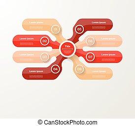 infographic, diagram, procesy, pojęcie, handlowy, strony, opcje, wykres, chart., wektor, kroki, szablon, 8, prezentacja, albo
