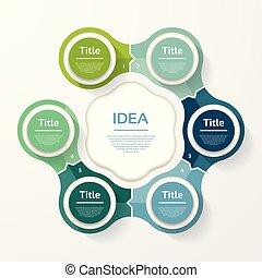 infographic, diagram, procesy, pojęcie, handlowy, strony, opcje, wykres, chart., wektor, kroki, szablon, 6, prezentacja, albo