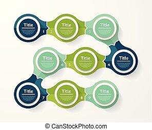 infographic, diagram, procesy, pojęcie, handlowy, strony, opcje, wykres, chart., wektor, kroki, szablon, 9, prezentacja, albo