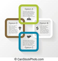 infographic, diagram, wektor, 4, koło, opcje