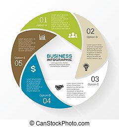infographic, diagram, wektor, 5, koło, opcje