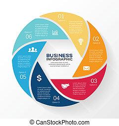 infographic, diagram, wektor, 6, koło, opcje