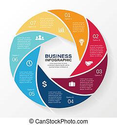 infographic, diagram, wektor, 7, koło, opcje