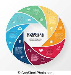 infographic, diagram, wektor, 8, koło, opcje