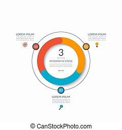 infographic, diagramma, concetto, affari, parts., grafico, circle., chart., 3, vettore, sagoma, passi, opzioni