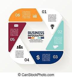 infographic., diagramma, concetto, processes., affari, parti, astratto, o, grafico, rotondo, chart., fondo., vettore, passi, sagoma, 6, cerchio, esagono, presentazione, opzioni, ciclo