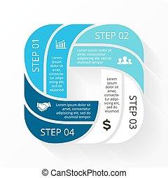 infographic., diagramma, concetto, processes., affari, parti, astratto, o, grafico, rotondo, chart., fondo., vettore, passi, 4, sagoma, cerchio, presentazione, opzioni, ciclo