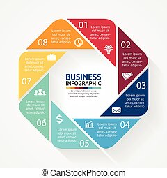 infographic, diagramme, cercle, options, business