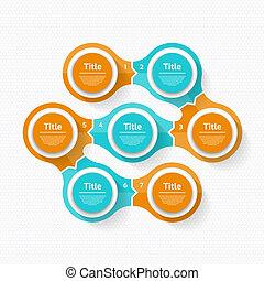 infographic., diagramme, concept, processes., business, parties, résumé, ou, graphique, rond, chart., arrière-plan., vecteur, étapes, 7, cercle, cycle, présentation, options, gabarit
