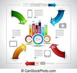 infographic, diseño, plantilla, con, papel, etiquetas