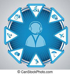 infographic, disegno, con, centro chiamata, simbolo