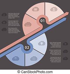 infographic, disegno, con, vario, nuvola, icone