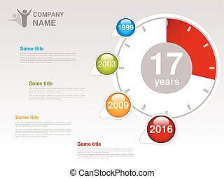 infographic, ditta, vettore, timeline., sagoma