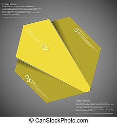 infographic, divisé, trois, jaune, randomly, parties, ...