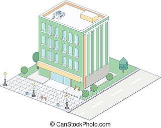 infographic, edificio, isométrico, representar, vector, icono, pueblo, ciudad, apartamento, creación, mapa de calle, o, elementos
