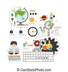 infographic, educación, niño, aprendizaje, tecnología, concepto, con, iconos