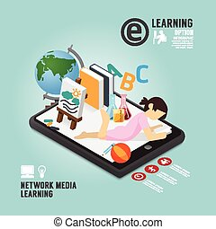 Infographic Education Media Learning Template Design . Concept Vector illustration